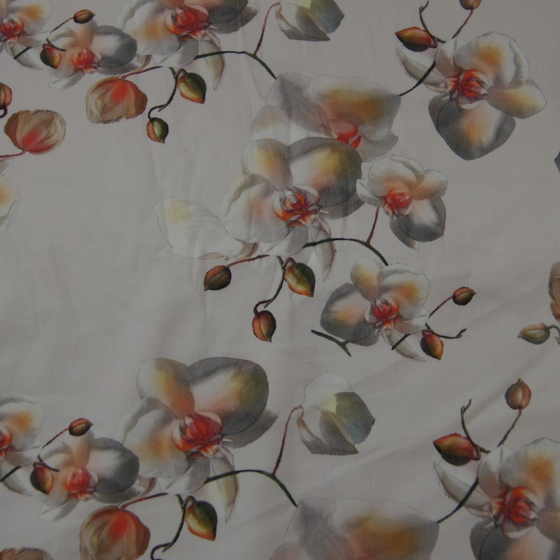 Bomull med stretch orkide