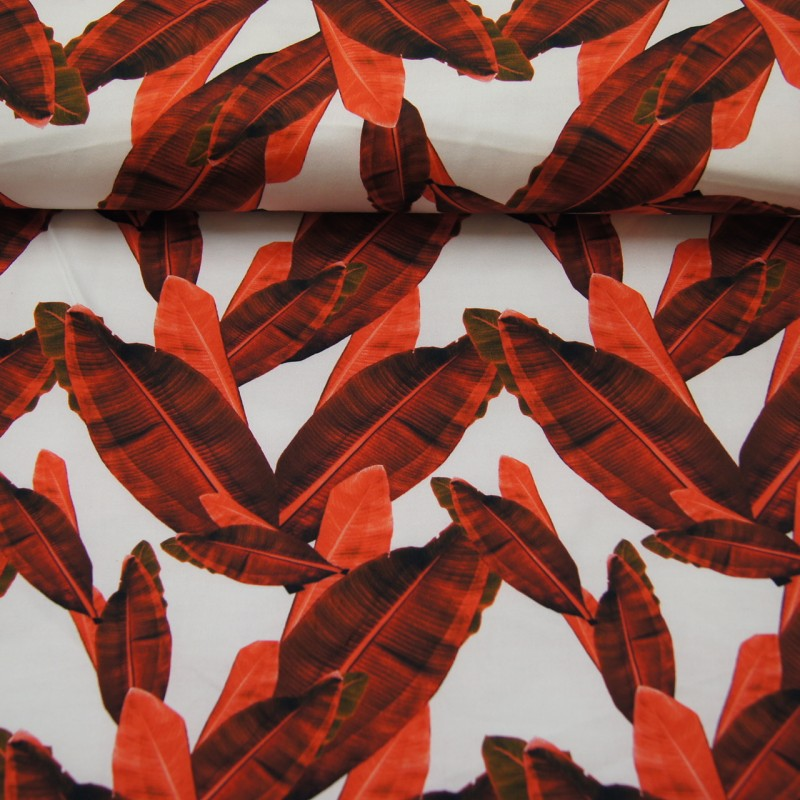 Bomull med stretch rød blader