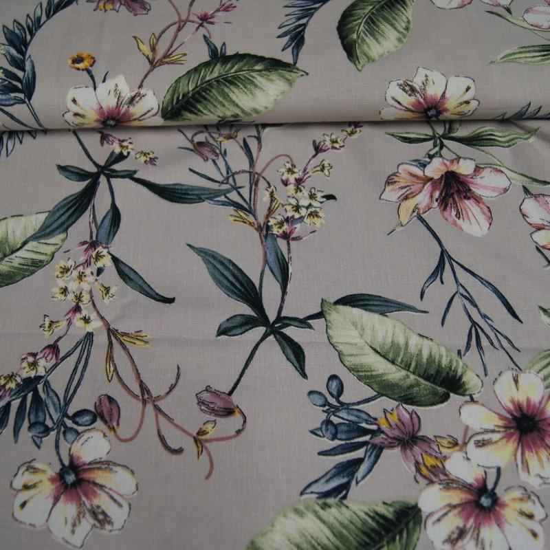 Lin lysgrå med blomster