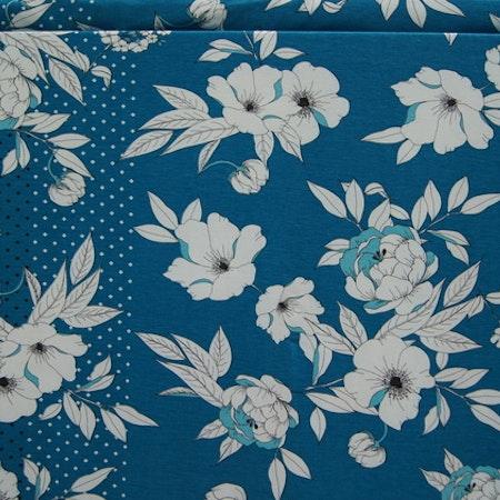 Viskose jersey hvit blomst