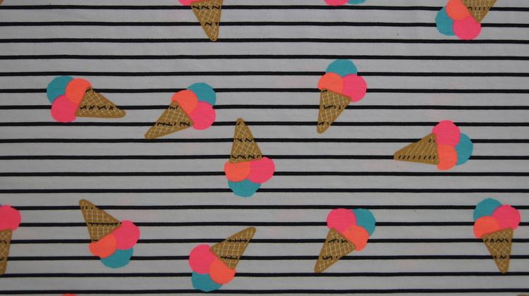 Bomull Jersey iskrem og striper