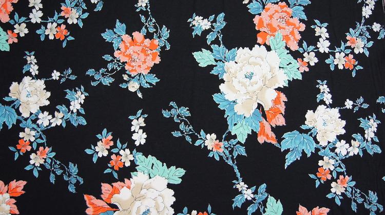 Jersey navi med blomster og foile print