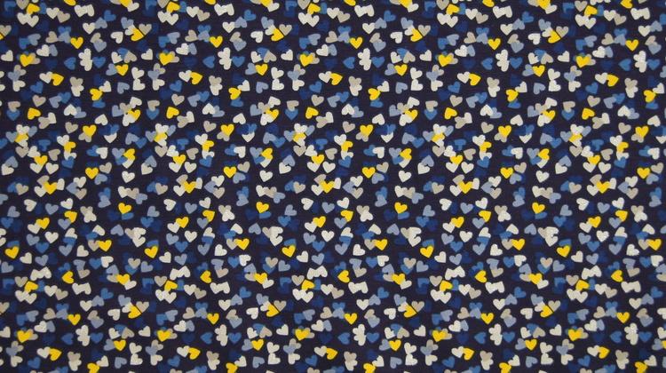 Jersey hjerter blå med glitter