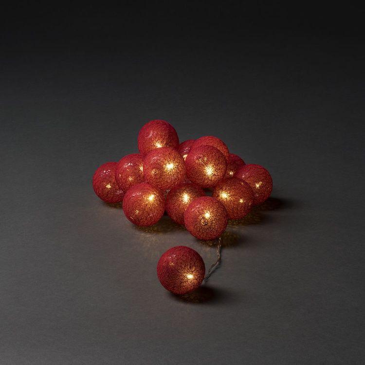 Konstsmide 3m ljusslinga, 16st Garnbollar, Röd