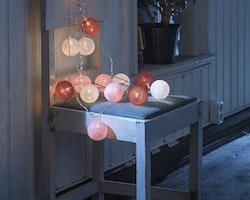 Konstsmide 3m ljusslinga, 16st Garnbollar, Vit/Röd/Rosa