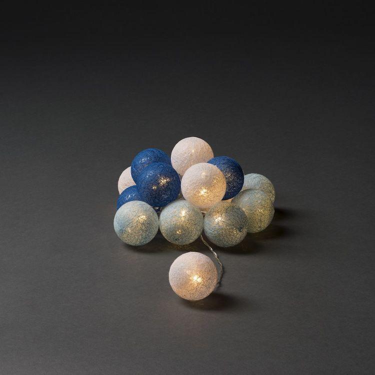 Konstsmide 3m ljusslinga, 16st Garnbollar, Vit/Blå/Turkos