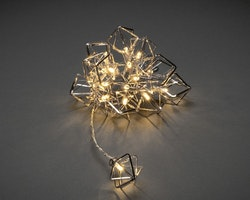 Konstsmide 3m ljusslinga, 16 Metalldekorationer, Silver