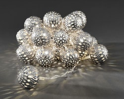 Konstsmide 3m ljusslinga, 24st Metallbollar, Silver
