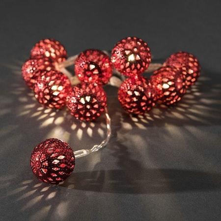Konstsmide, ljusslinga, 10 metallbollar, Batteri, Röd