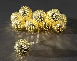 Konstsmide, ljusslinga, 10 metallbollar, Batteri, Guld