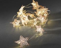 Konstsmide, ljusslinga, Stjärna, Batteri, Silver