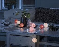 Konstsmide, 1,8m ljusslinga, 10st garnbollar, Batteri, Vit/Röd/Rosa