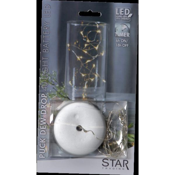 Star Trading, Ljusslinga Dew Drop 1m, Batteri