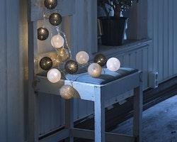 Konstsmide 3m ljusslinga, 16st Garnbollar, Vit/Grå/Svart