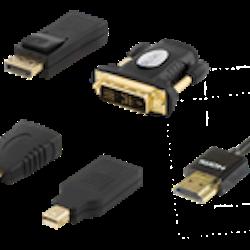 HDMI/DisplayPort/DVI adapter kit inklusive HDMI-kabel 2m, UltraHD, 4K, svart
