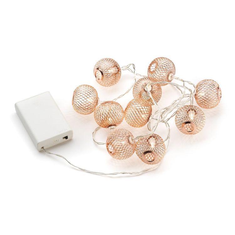 Konstsmide ljusslinga, LED bollar, Batteri, Koppar