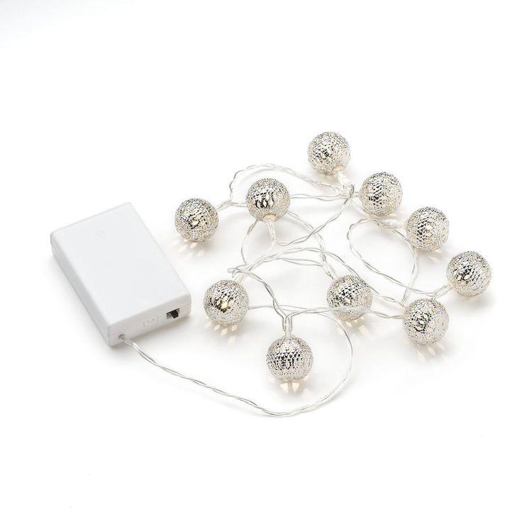 Konstsmide, ljusslinga, 10 metallbollar, Batteri, Silver