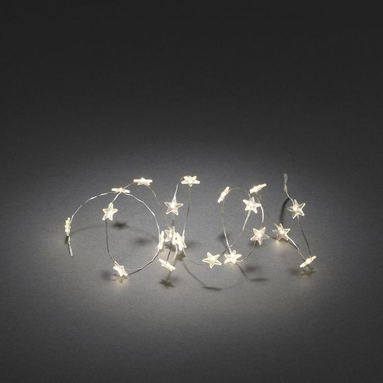 Konstsmide, ljusslinga, Stjärnor, Batteri, Silver