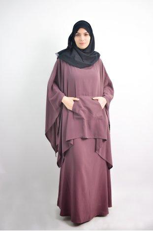 Armlös abaya med integrerad poncho