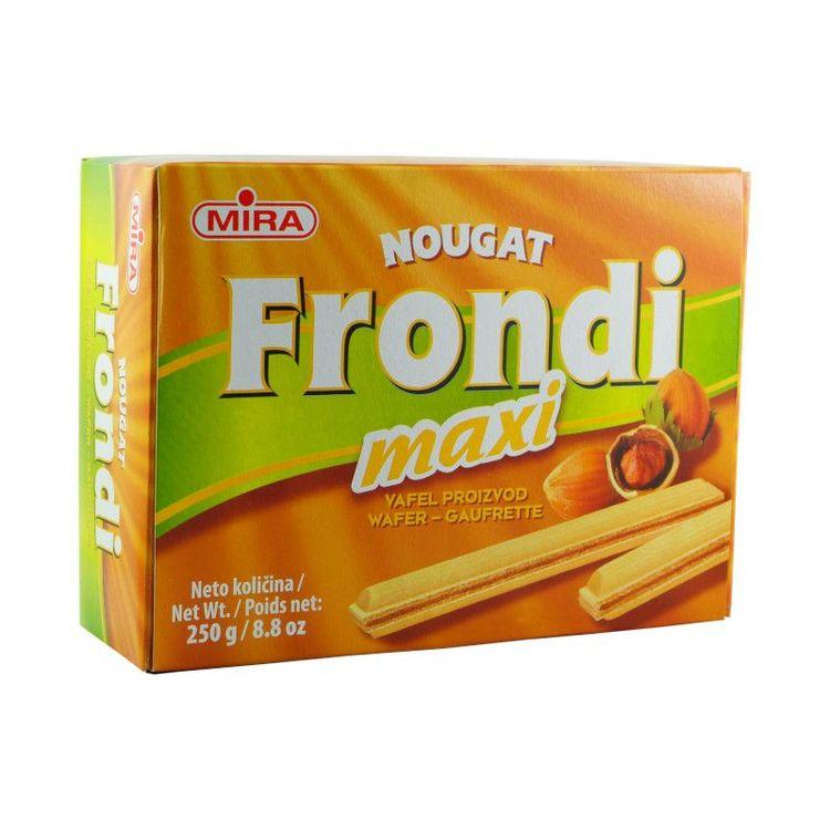 Frondi Wafers nougat Wafers från Mira med ljuvligt krämig hasselnötsfyllning 81%. Produkt från Bosnien.