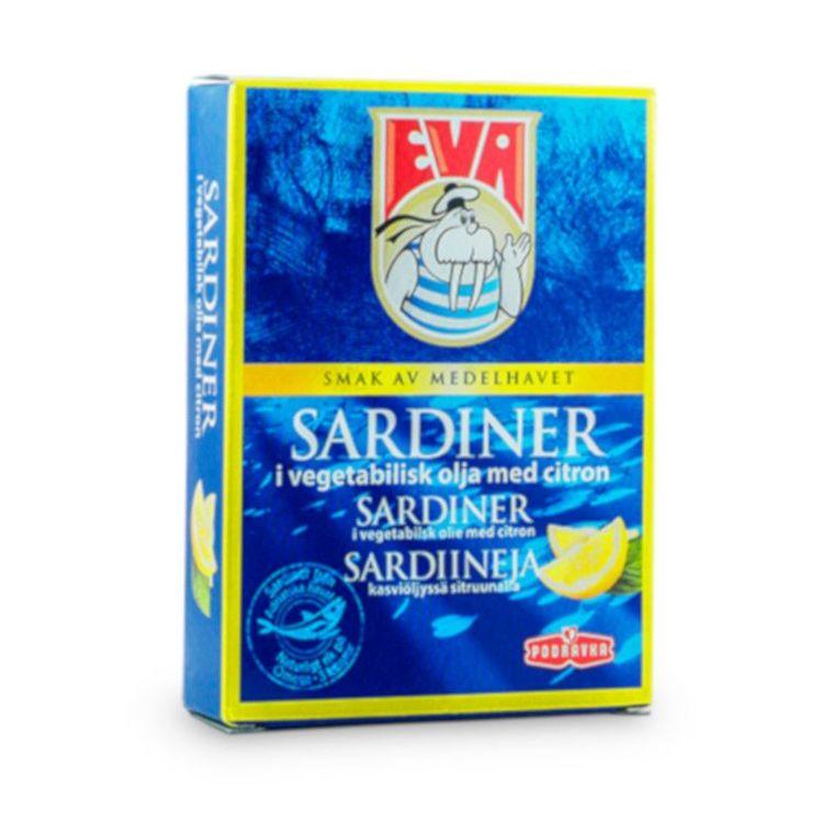 Sardiner i vegetabilisk olja med citron Smak av medelhavet.