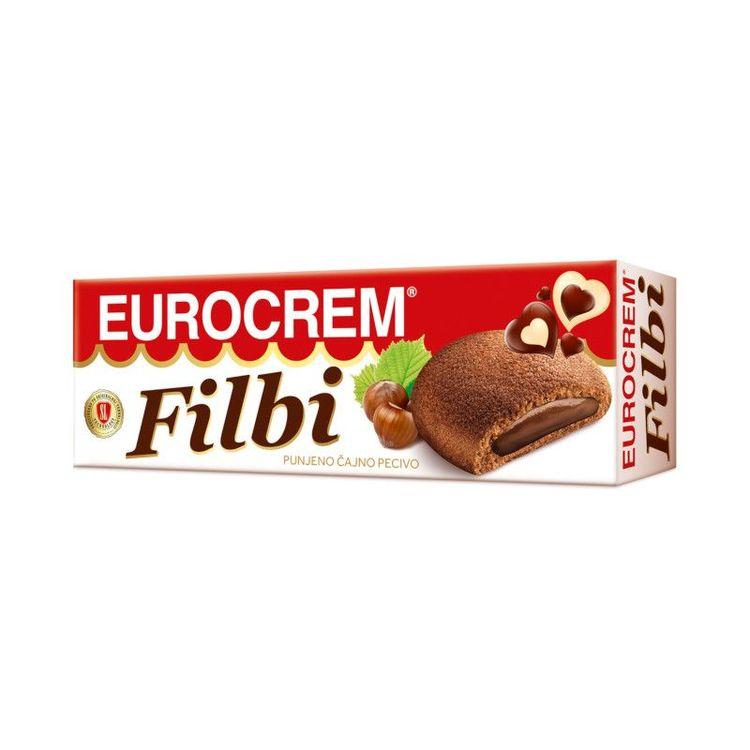 Filbi chokladfyllda kex Eurocrem Tekakor fyllda med kakaogrädde 125 g. Produkt från Serbien.