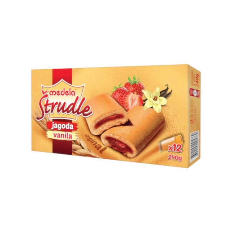Strudel kakor-jordgubb Strudelkakor fyllda med utsökt jordgubbsmarmelad från Medela. En perfekt godsak att njuta av till ditt kaffe eller te.