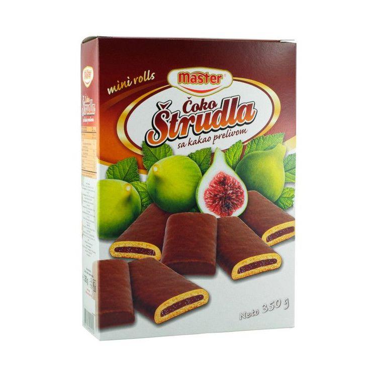 Strudel kakor-fikon med kakaoöverdrag Kakaoöverdragna strudel kakor fyllda med utsökt fikonmarmelad från Balkan. Med sin krämiga fyllning är det svårt att bara äta en!