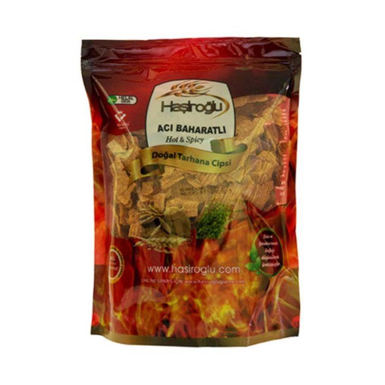 Chips tarhana-stark kryddat En unik produkt som är gjort av kokt krossad vete och yoghurt. Mättande och utmärkt för dig som vill gå ner i vikt. Smakar lite som syrligt chips och kan användas som mella