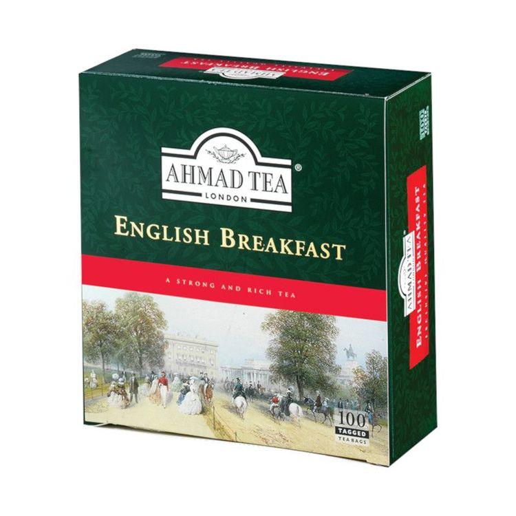 """Ahmad Tea English Breakfast Tea Engelskt frukost te är helt enkelt den """"brittiska kopp teet"""", en klassiskt stark och fyllig blandning som går bra med mjölk och socker. Ahmad tea's engelska frukost te"""