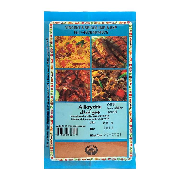 Allkrydda 80 g Denna allkrydda är en mycket populär krydda som du endast hittar i Vincents sortiment. Det är en medelstark kryddblandning som kan användas både som bordskrydda och i matlagningen. Vinc
