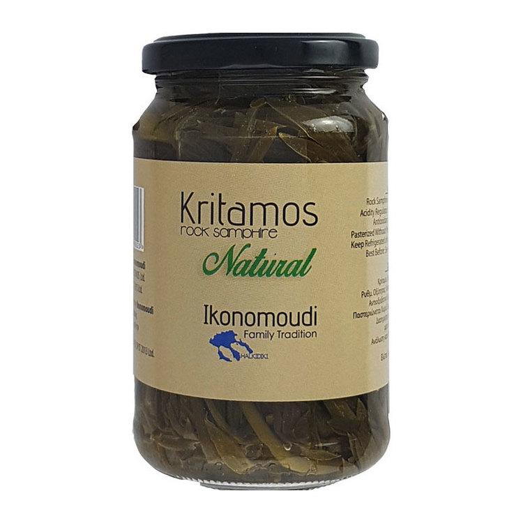 """Kritamo eller """"Rock Samphire"""" är känt sedan antiken i Grekland för sina terapeutiska egenskaper och sin karakteristisk smak , den växer bland klippor nära stränderna, innehåller antioxidanter, jod, om"""