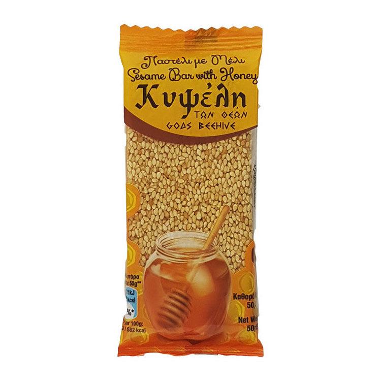 Ingredienser: Sesam 65%, Kypseli honung 35%.   Kan innehålla spår av jordnötter och andra nötter.