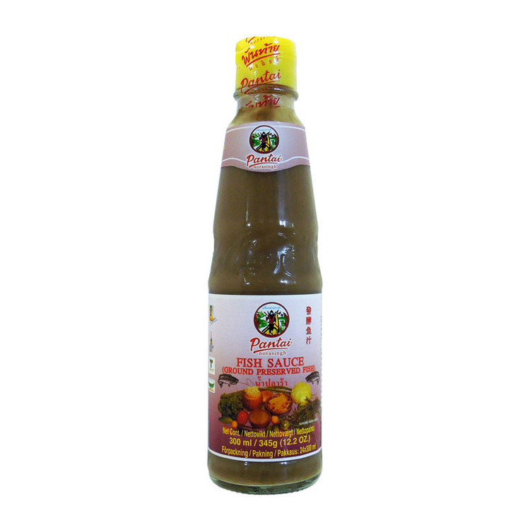 Fisksås Ingredienser: inlagd gurami fisk (osphronemidae) (80%) (gurami, salt, rispulver, fisksås), fisksås (ansjovis extrakt, salt socker), smakförstärkare (E621).