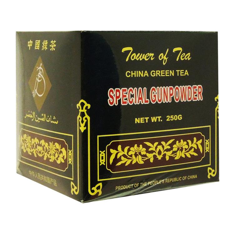 Gunpowder grönt te En daglig frukost te; stark och tillfredsställande. Lägre i koffein än svart te eller kaffe. Det antas också ha många hälsofördelar, inklusive sänkning av kolesterol, brinnande fett