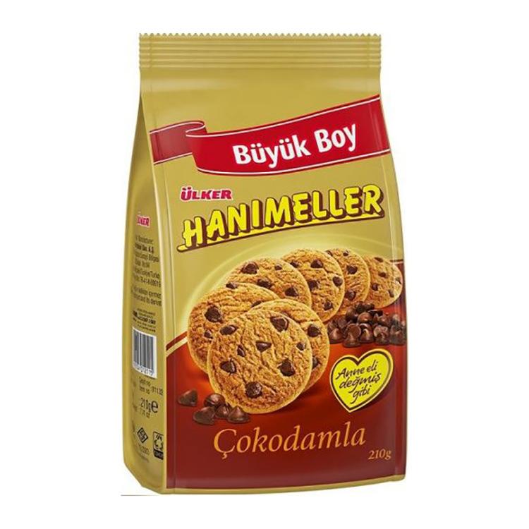 Kakor med chokladbitar Hanimeller småkakor från Ülker. Fyllda med goda chokladbitar.