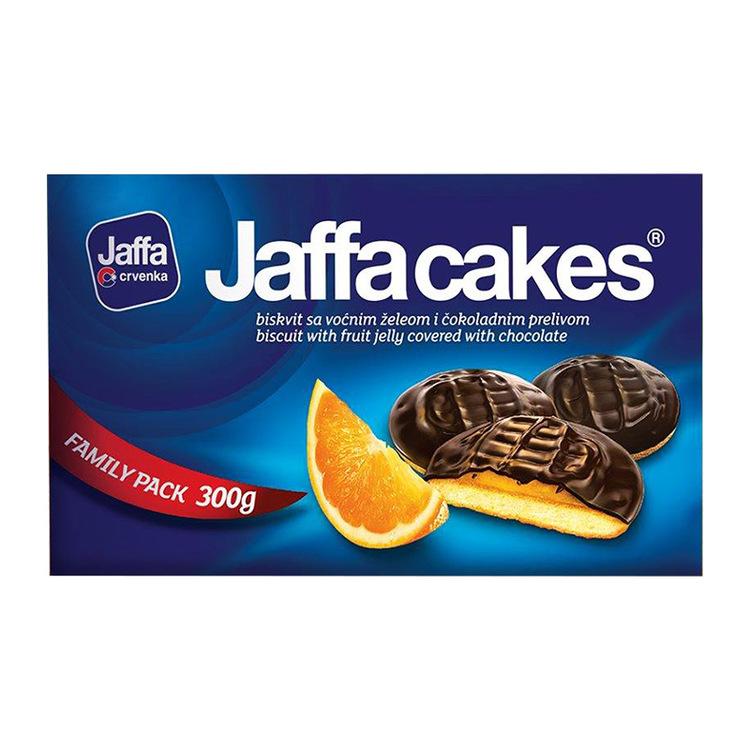Jaffakakor Kex med fräsch apelsinmarmelad (42%) och chokladöverdrag (20%) med ett kakaoinnehåll på minst 46%.