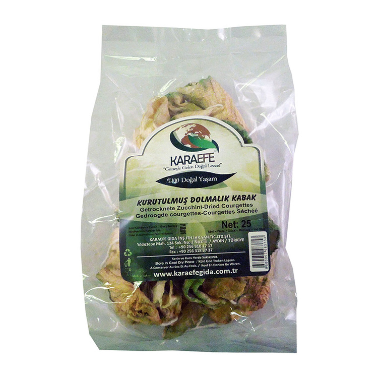 Torkad zucchini Stek i lite olja, gärma med vitlök. Komplement till kött och fisk. Blötläggs i 60 minuter i uppkokat vatten innan användning.
