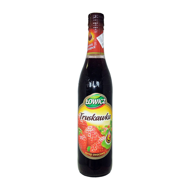 Jordgubbssirap Ingredienser: Fruktos sirap, vatten, jordgubbssaft från koncentrat 2,8%, blandat fruktjuice koncentrat, koncentrat av svart morot, pigment-antocyaniner och karamell färg, surhetsreglera