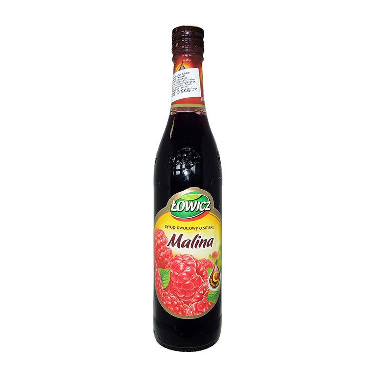 Hallonsirap Ingredienser: Fruktos sirap, vatten, hallonsaft från koncentrat 3%, blandat fruktjuice koncentrat, koncentrat av svart morot, pigment-antocyaniner och karamell färg, surhetsreglerande mede