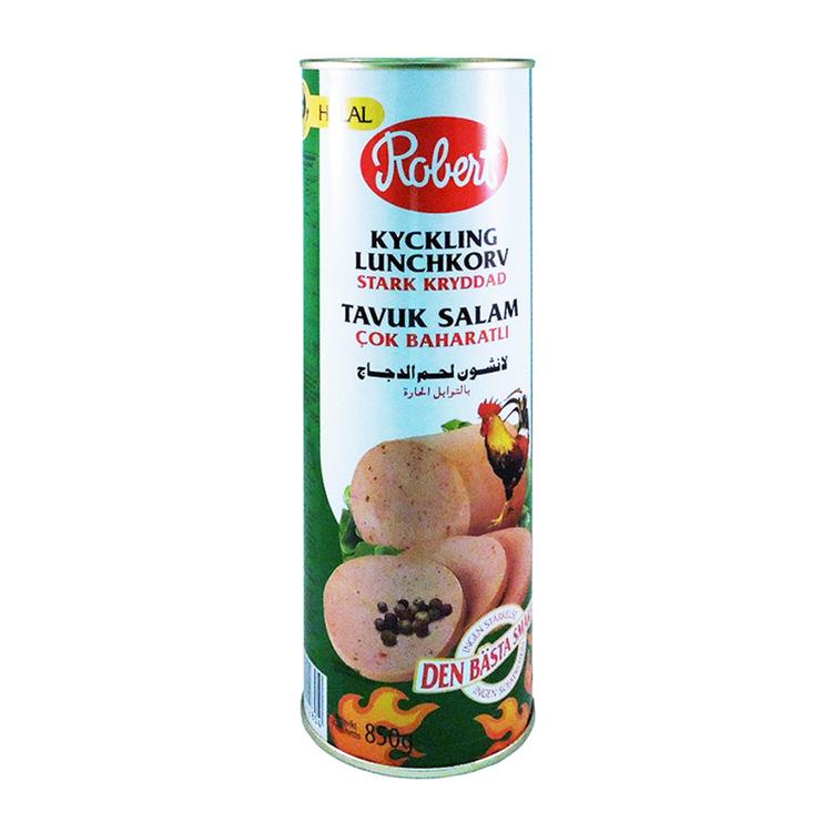 Kryddig kyckling lunchkorv-halal 850g Halal kyckling lunchkorv. Kokt. Produkt av Danmark.