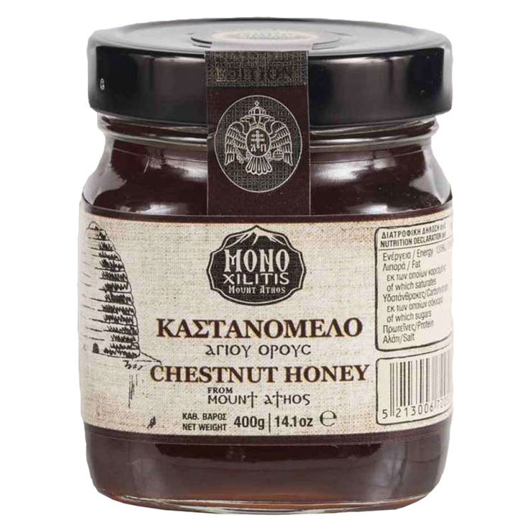 Kastanjehonung Denna ekologisk kastanjehonung samlas in i Grekland. Den har en mörk gyllene färg och en aromatisk, rundad och fyllig smak. Honungen är särskilt lämplig tillsammans med färska eller tor