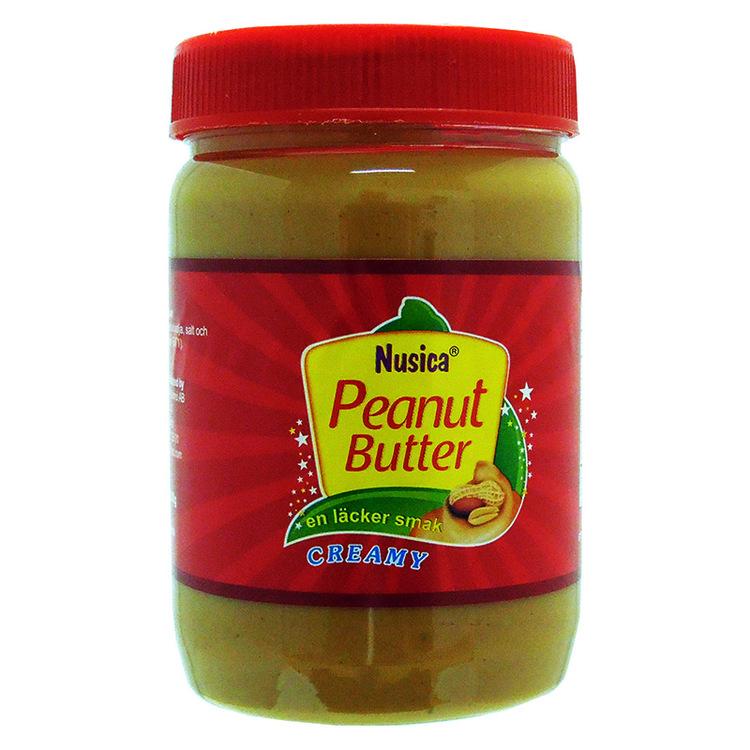 Jordnötssmör Krämig - Ingredienser: Jordnötter 80%, vegetabilisk olja (solros), dextros, härdat vegetabilisk fett (palm), salt. Kan innehålla spår av nötter.