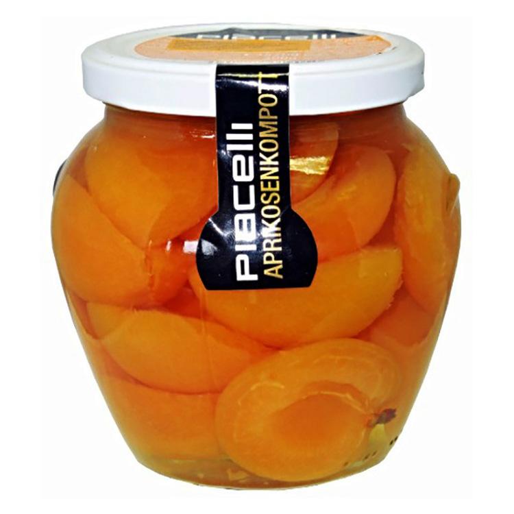Aprikoskompott från Piacelli.  Ingredienser: Persikohalvor 53,6%, vatten, socker, citronsyra E330, antioxidant E300.