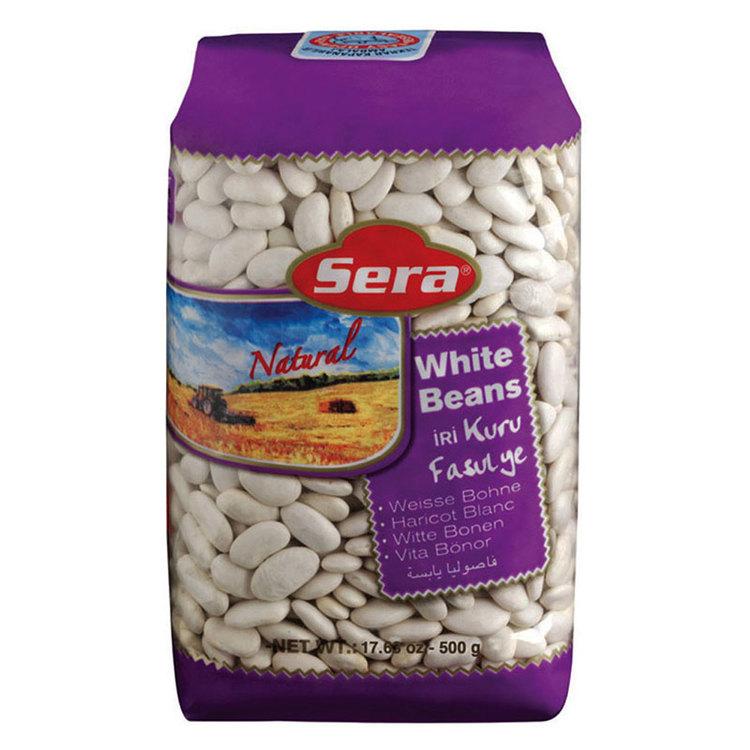 Vita bönor har en mild smak och används liksom andra bönor, i sallader, grytor och soppor. Storlek: 10 mm. 900 gram. Produkt av Turkiet.
