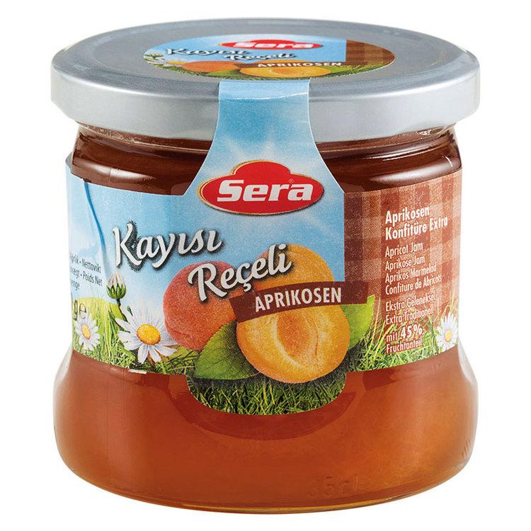 Njut av aprikosmarmeladen på din smörgås eller pannkaka. Tillverkad av Turkiets mest kända varumärke; Sera. Produkt av Turkiet.