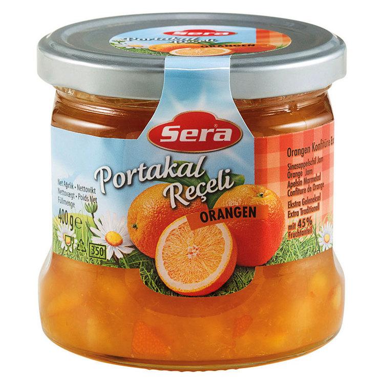 Njut av apelsinmarmeladen på din smörgås eller pannkaka. Tillverkad av Turkiets mest kända varumärke; Sera. Produkt av Turkiet.