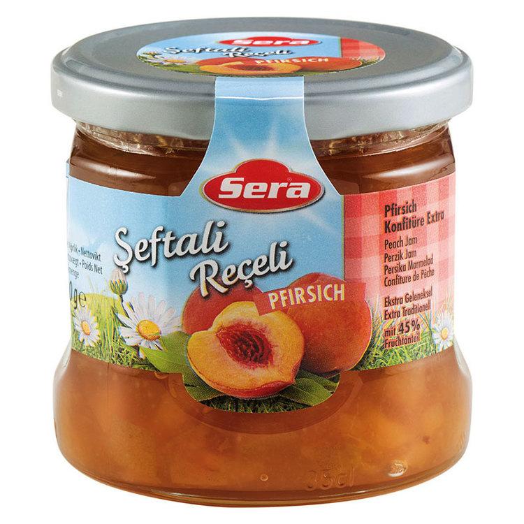 Njut av persikomarmeladen på din smörgås eller pannkaka. Tillverkad av Turkiets mest kända varumärke; Sera. Produkt av Turkiet.