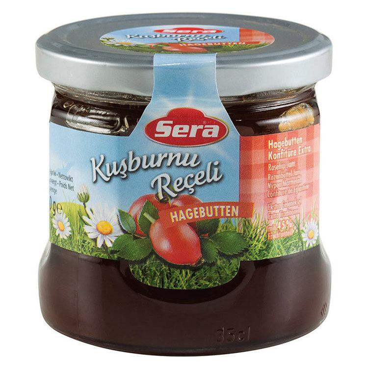 Njut av nyponmarmeladen på din smörgås eller pannkaka. Tillverkad av Turkiets mest kända varumärke; Sera. Produkt av Turkiet.