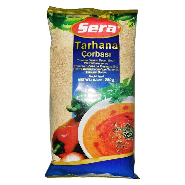 Soppa med vetemjöl-yoghurt-grönsaker-framställning. Tarhana kommer från Fjärran Östern ... period berättar om en stor krigsherre som åtnjöt måltiden i en fattig familj och var mycket entusiastisk över